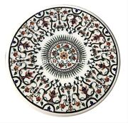 3and039 White Marble Dining Table Top Multi Mosaic Floral Inlay Art Garden Decor W120