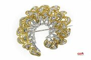 Diamond Cluster Wreath 18k 750 Yellow And White Gold Brooch