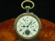 Large Iron Open Face Pocket Watch Complete Calendar Moon Phase/diameter 670 Mm