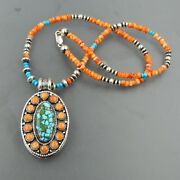 Museum Quality Handmade Sterling Silver Kingman Turquoise And Spiny Oyster Locke