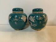 Antique Chinese Qing / Republic Pair Of Cloisonne Ginger Jars W/ Dragons Dec.