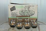 Vintage Original Set Of 8 Roly Poly Bar Glasses W/ Drink Caddy And Box