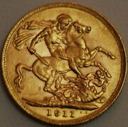 Great Britain Gold Sovereign 1911 George V London Km 820 R294-l
