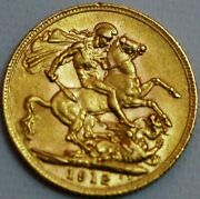 Great Britain Gold Sovereign 1912 George V London Mint Km 820 R531-l
