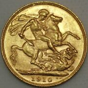Great Britain Gold Sovereign 1910 London Edward Vii Km 805 S516-l