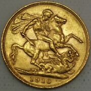 Great Britain Gold Sovereign 1910 London Edward Vii Km 805 S410-l