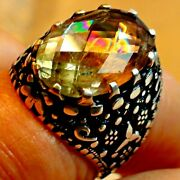 Big 11.0 Ct Natural Fire Color Change Turkish Diaspore Ring 925 Silver.10.5