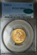 1900-s 5 Gold Half Eagle Pcgs Ms-64 Cac Extremely Hard To Find In Higher Grade