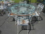 5pc.fancy Wrought Iron/galvanized 54 Crackle Glass Patio Tableand 4 Arm Chairs