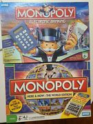 Lot Of 2 Different Monopoly Electronic Banking Board Games Complete Mint Clean