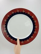 Bedazzle Ruby Casual Images By Lenox Dinner Plate Blue Red Band Green Leaves