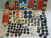 Large Lot Of Vintage Buttons Olive Green Bakelite Blue And Gold Glass Metal +++