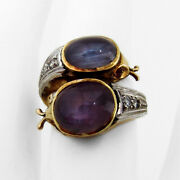 Star Sapphire Two Head Snake Ring 14 K Gold Ruby Diamond Accents