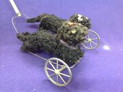 Rare Mechanical Antique German Push Floor Toy Dog On Wheels Great Action