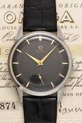 Omega Petit Second 2742-1 Black Guilloche Dial Manuel Vintage Montre 1955and039s Oh