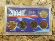 2004 United States 50 State Quarters 24k Gold Mint 5 Coin Set Unc Sealed