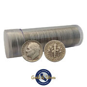 5 Face Value Roosevelt Dimes 90 Silver 50-coin Roll Circulated