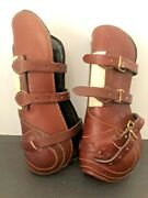 Nwot Pessoa Open Front All Leather 3 Brass Buckle Tendon Boots Neoprene Lined-l