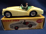 Dinky Toys 1950and039s Rare Triumph Tr2 Sports Car No 105 Mint Ex Shop Stock