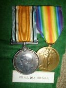 Ww1 Bi-lingual Victory Medal Pair South African To Aiden Daly, 6th S.a. Infantry