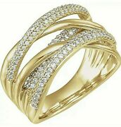 Natural Diamond Criss Cross Ring In 14k Sold Yellow Gold Value Of 2995/-