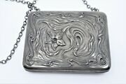 Antique 1905 Fine Sterling Silver Coin, Card Purse, Evening Bag, Floral
