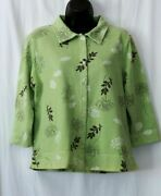 Fresh Produce Unlnd Green Floral French Terry Jckt Side Slits 3/4 Slvs Sz S Exc
