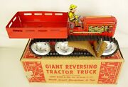 Marx 1940and039s Vintage Giant Reversing Tractor Truck With Farmer-mint In Orig. Box