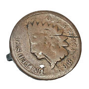 Rare 1888 Indian Head Cent Penny Copper Project Coin - Pin Jewelry Old Antique