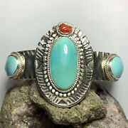 272 Ct Tw Untreated Sleeping Beauty Turquoise Sterling Silver Cuff Bracelet Usa