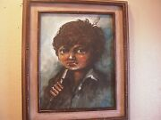 Salvador Cabrera Oil Painting On Canvas Of Young Boy With Fishing Pole Signed