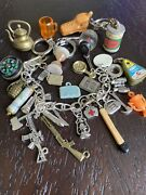 Vintage Silver Charm Bracelet Survival Charms Gumball Toys Prizes