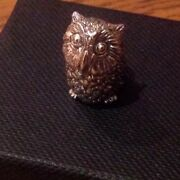 Fine Sterling Silver 925 3d Owl Bird Collectable Miniature Pin Cushion Figure