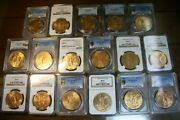1921-47 Gold 50 Pesos Complete Set Graded Ms-64and039s Up To Ms-66and039sincludes 1931/0