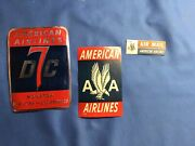 Vintage Original American Airlines Travel Stickers Dc-7 And Air Mail Set Of 3 Rare
