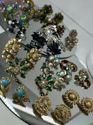Vintage Lot Of 16 Pairs Clip On Earrings Costume Jewelry Sparkling Glass Bling
