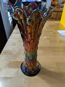 Rare And Gorgeous Antique Rainbow Opalescence Carnival Glass Flower Vase