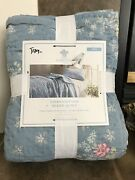 New Simply Shabby Chic Blue Lily Rose Chambray Twin Hand Quilted French Cottage