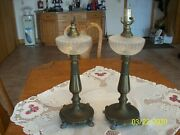 Clear Glass And Brass Set 2 Antique Electrified Oil Ornate 1800and039s Table Lamps