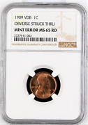 ✔ 1909 Vdb Wheat Cent Ngc Ms 65 Rd Struck Through Error Penny Red