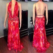 Gianni Versace S/s 2000 Runway Vintage Embellished Jungle Print Dress Gown It 40