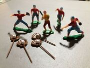 9 Pcs Vintage Toy Baseball Players Cake Toppers Plastic Wilton Gloves