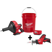 Milwaukee Auger Snake Drain Cleaning Kit W Reciprocating Saw Cordless 12volt