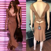 New Gianni Versace F/w 2001 Runway Vintage Leather Cutout Plunged Dress