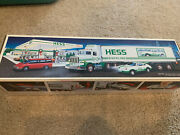 Hess Toy 18 Wheeler Box Truck And Racer 1992 With Original Box. Hess New