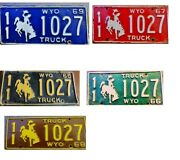 Wyoming License Plate 5 Consecutive Years With Same Number 1965-1969