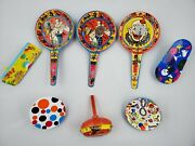 Lot 8 Vintage Us Metal Toy Mfg. Painted Tin Metal Noise Maker Toys With Clowns