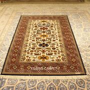 Yilong 4and039x6and039 300lines Red Handmade Rug Geometric Hand Knotted Silk Carpets W16a