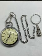 Ingraham Autocrat Pocket Watch With Chain Working Keeps Time Good Condition