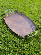 Belgian Secessionist Serving Tray By Gustave Serrurier-bovy In Copper And Brass